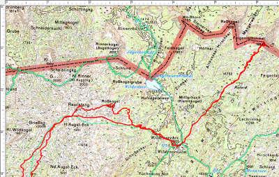 Der Routenverlauf im 2. Abschnitt: Rauchfang, Wildenseealm, Feigentalhimmel