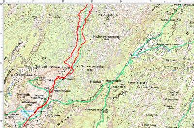 Der Routenverlauf im 1. Abschnitt: Loser, Plateau südlich des Grießkogel