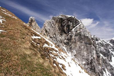 Steiler Anstieg auf die Grünspitze