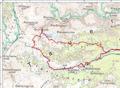 Abschnitt 2: Der Rundweg im Talschluß - Lantschfeldalmen, Grünspitze, Blausee