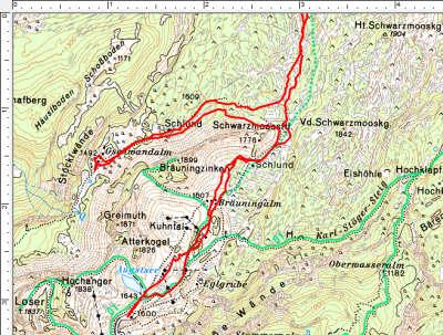 Das Tourengebiet zwischen Loseralm und Gschwandalm