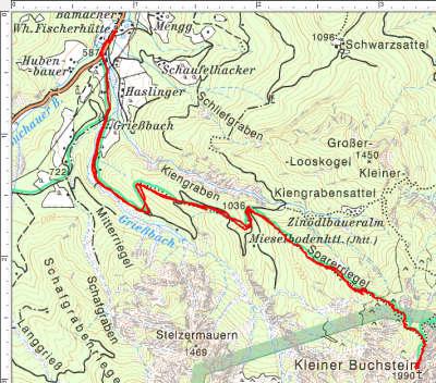 Der Routenverlauf auf den Kleinen Buchstein