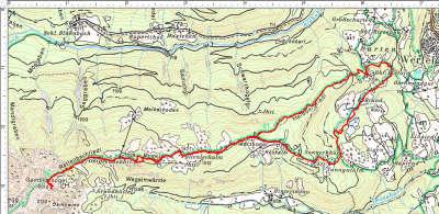 Der Routenverlauf Ostpreußenhütte - Gamskarkogel mit einer Rundtour im unteren Bereich