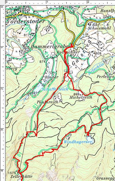 Der Routenverlauf im unteren Abschnitt mit Rundtour über den Windhagersee
