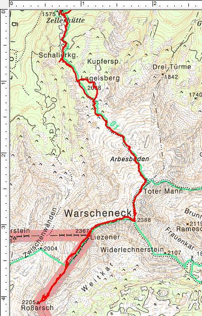 Der Routenverlauf im oberen Abschnitt zwischen Zellerhütte und Roßarsch