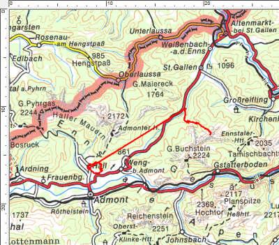 Die Tourengebiete zwischen Haller Mauern und Gesäuse, zwischen Admont und St. Gallen.