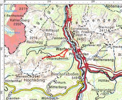 Das Tourengebiet westlich von Werfen