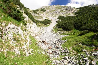 Aufstieg auf den Südostrücken zwischen Geierkogel und Gößeck