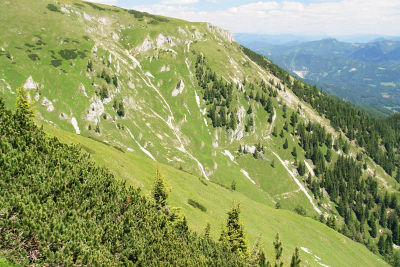Steiler Abstieg hinab ins Kaisertal
