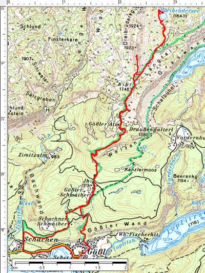 Der Routenverlauf vom Grundlsee über die Gößler Alm zum Dreibrüdersee