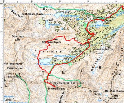 Die Rundtour im oberen Bereich: Hohensee-Schimpelspitz-Schimpelsee-Schönkarlspitz