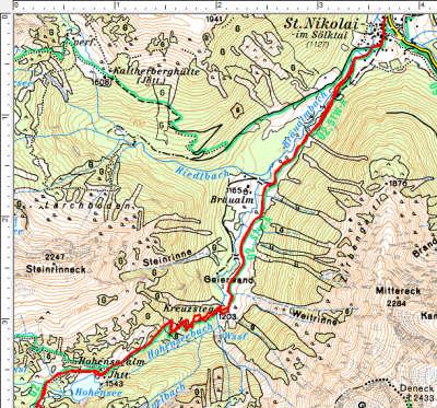 Der Routenverlauf im unteren Bereich: St. Nikolai im Sölktal - Hohensee