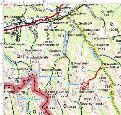 Das Tourengebiet Hohensee-Schimpelspitz-Schönkarlspitz südwestlich von St. Nikolai im Sölktal
