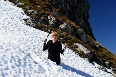 Vorsicht ist angebracht im Herbst-Schnee im Toten Gebirge