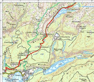 Unterster Wegabschnitt: Grundlsee - Lahngangsee