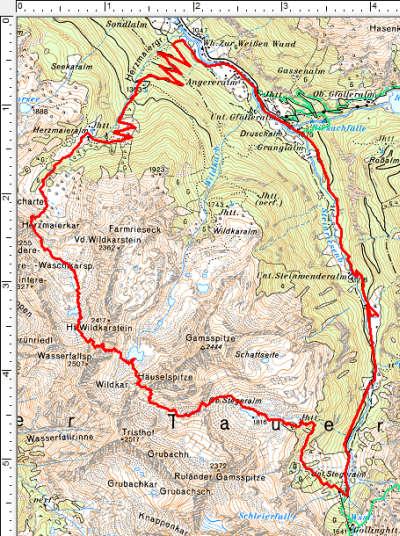 Der Routenverlauf im Uhrzeigersinn mit Ausgangspunkt beim Gasthaus Riesachfall