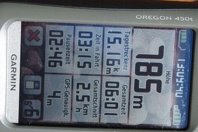 """Das vergleichsweise """"schlechteste"""", aber dennoch gut ablesbare Display des Oregon 450t"""