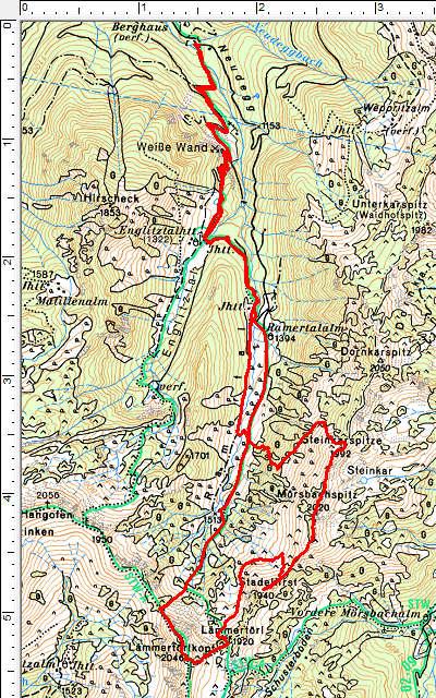 Der Routenverlauf mit einer Gipfelrunde entgegen dem Uhrzeigersinn