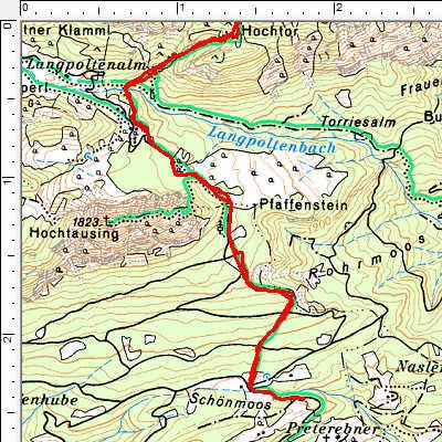 Routenverlauf Unterer Abschnitt: Schönmoos-Langpoltenalm
