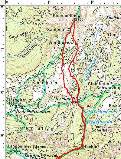 Routenverlauf Oberer Abschnitt: Langpoltenalm - Liezener Hütte - Kleinmölbing