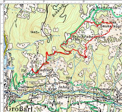 Routenverlauf Reschenbergalm - Saukarkopf - Gerstreitalm