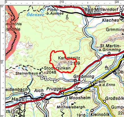 Das Tourengebiet nordwestlich von Gröbming