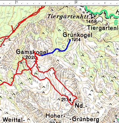Routenverlauf Gamskogel - Nd. Grünberg beim Umkehrpunkt