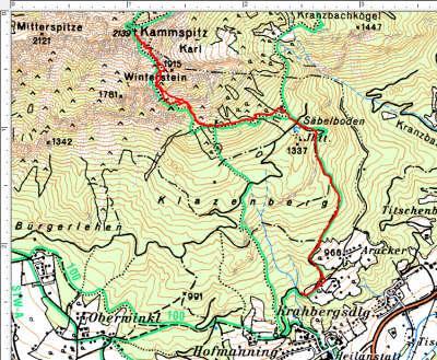 Routenverlauf Säbelboden-Kammspitz