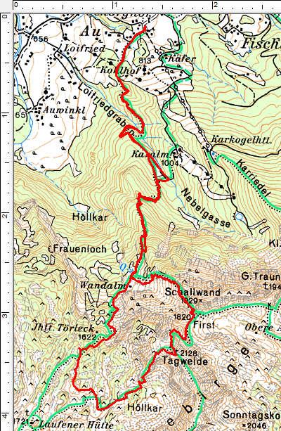 Routenverlauf Wandalm - First - Tagweide