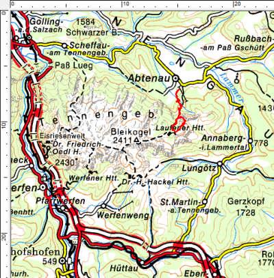 Tourengebiet Abtenau - Laufener Hütte