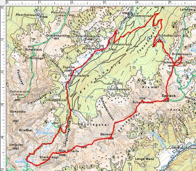 Routenverlauf Sattental - Goldlacken - Stierkarkopf - Säuleck - Spateck