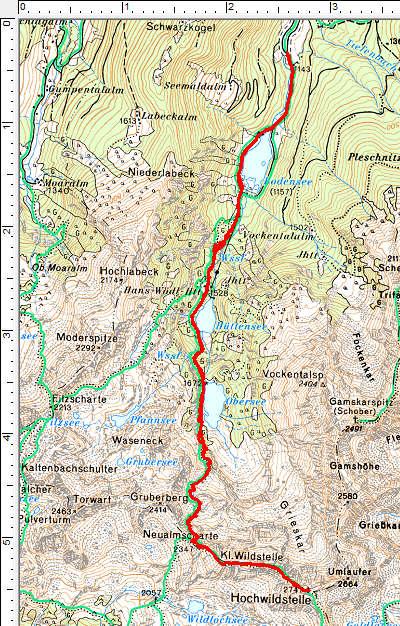 Routenverlauf Bodensee - Hans-Wödl-Hütte - Obersee - Hochwildstelle