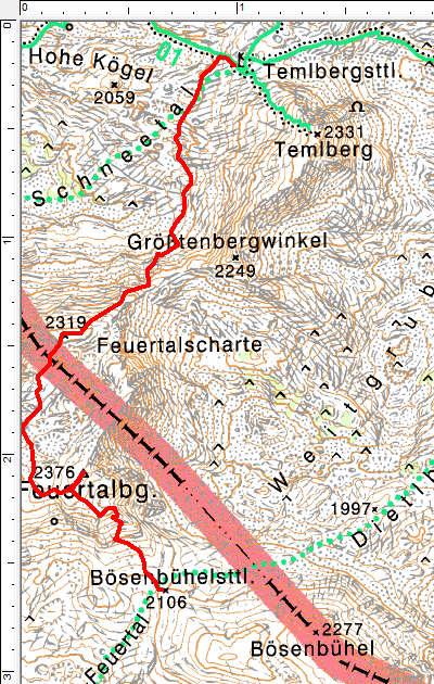 Route über den Feuertalberg