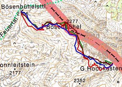 Routenverlauf auf den Großen Hochkasten