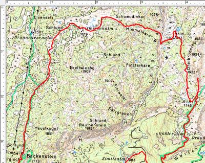 Routenverlauf Breitwiesenalm - Widderkar - Dreibrüderkogel im oben Abschnitt (am Plateau)