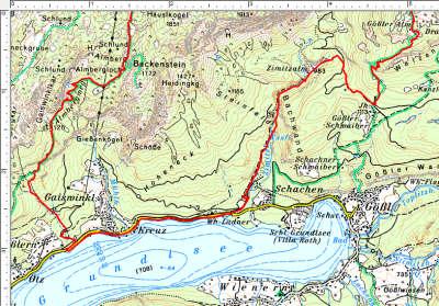 Routenverlauf Breitwiesenalm - Widderkar - Dreibrüderkogel im unteren Abschnitt (Talnähe)