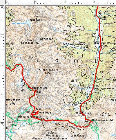 Routenverlauf im obersten Abschnitt über den Predigstuhl