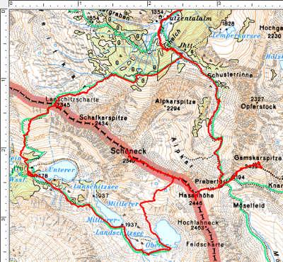 Routenverlauf Putzentalalm - Lanschitzseen - Schöneck