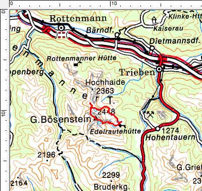 Tourengebiet Bösensteingruppe - Edelrautehütte