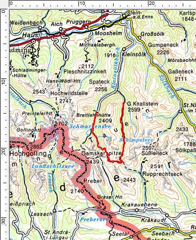 Tourengebiet Striegleralm - Predigststuhl - Breitlahn