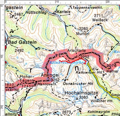 Tourengebiet Kölnbreinspeicher - Kleinelendtal
