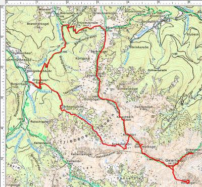 Routenverlauf Schaunitzalm - Geierhaupt - Kerschkern - Lattenberg