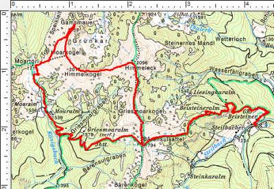 Routenverlauf Jansenberger - Himmeleck - Gamsmauer