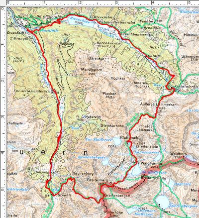 Routenverlauf Riesachfall - Preintalerhütte - Klafferkessel - Gollinghütte