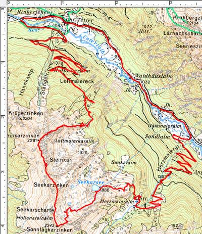 Routenverlauf Steinkarzinken - Seekarzinken - Sonntagkarzinken