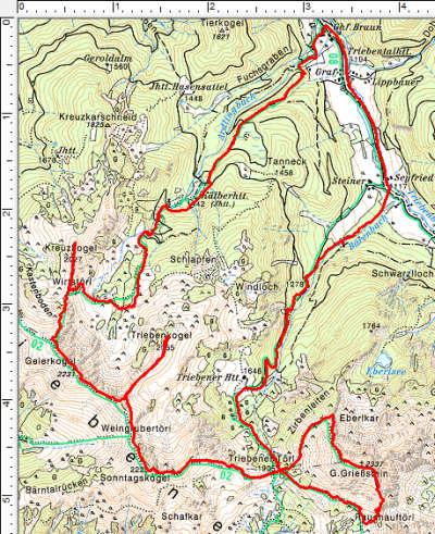 Routenverlauf Gr. Grießstein - Sonntagkogel - Geierkogel