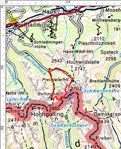 Tourengebiet Riesachfall - Preintalerhütte - Gollinghütte