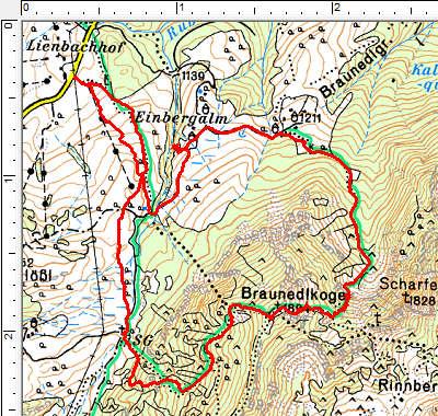 Routenverlauf Lienbachalm - Braunedlkogel