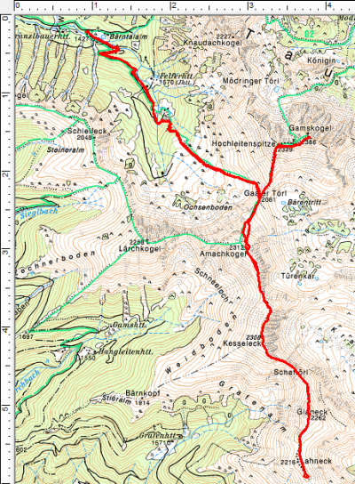 Routenverlauf Franzlbauerhütte - Gamskogel - Amachkogel - Kesseleck