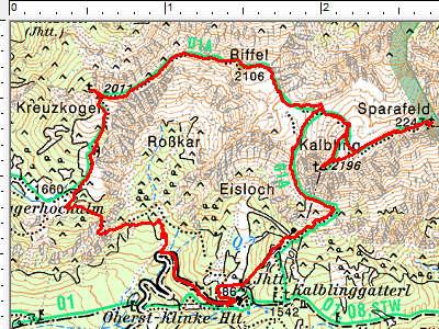 Routenverlauf Sparafeld - Kalbling - Riffel - Kreuzkogel